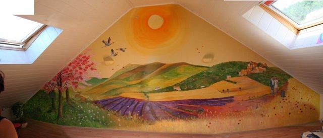 Fresque salle Espace Arc-en-ciel